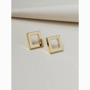 Gold Hollow Out Square Statement Stud Earrings